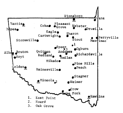 Locations of Wood County, TC post offices