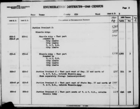 Wood County Texas 1940 census EDs 5-9