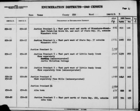 Wood County Texas 1940 census EDs 16-22
