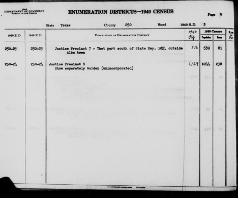 Wood County Texas 1940 census EDs 23-24